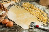 Cooking Italian Pasta, Or Noodles. Flat-lay With Flour, Eggs, Slicing Knife. The Ability To Use As A poster