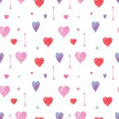 Tender Seamless Watercolor Pattern With Red, Blue And Pink Hearts And Arrows. Beautiful Lovely Backg poster