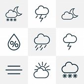 Climate Icons Line Style Set With Rainstorm, Breeze, Moonshine And Other Wind Elements. Isolated Vec poster