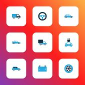 Automobile Icons Colored Set With Crossover, Plug, Car And Other Crossover Elements. Isolated  Illus poster