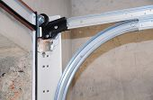 Garage Door Springs. Garage Door Replacement, Garage Door Repair. Garage Door Post Rail And Spring I poster