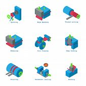 Creation Icons Set. Isometric Set Of 9 Creation Icons For Web Isolated On White Background poster