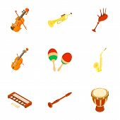 Musical Path Icons Set. Cartoon Set Of 9 Musical Path Icons For Web Isolated On White Background poster