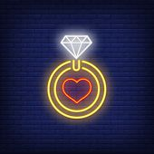 Love Ring Neon Sign. Glowing Neon Ring With Brilliant And Heart On Brick Wall Background. Vector Ill poster