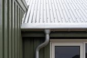 Close Up Cropped Photo Of Small Green House With Zinc Metallic Rain Gutter On Cornice Under Rivets R poster