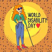 World Disability Day Blind Woman Concept Background. Hand Drawn Illustration Of World Disability Day poster