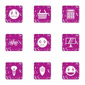 Poor Lighting Icons Set. Grunge Set Of 9 Poor Lighting Icons For Web Isolated On White Background poster