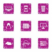 Cyberspace Threat Icons Set. Grunge Set Of 9 Cyberspace Threat Icons For Web Isolated On White Backg poster