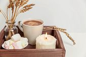 Natural Eco Home Decor With Cup Coffee Marshmallow Candle On Wooden Tray. Early Morning Breakfast Li poster