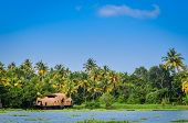 Houseboat Docked At A Scenic Location In Kerala, India poster