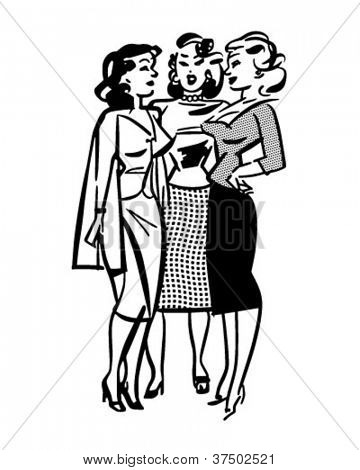 Girl Conference - Retro Clipart Illustration