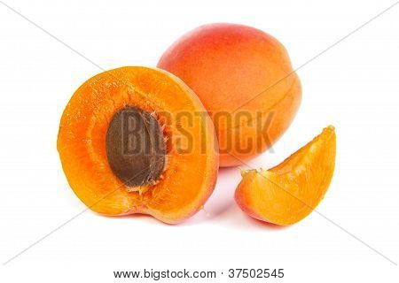 Two Ripe Apricot Sectioned By Knife