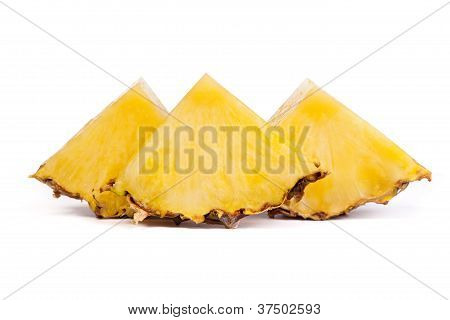 Pieces  Of Pineapples Isolated On White