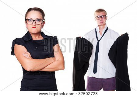 mad wife waiting until her husband wearing trousers. isolated on white background