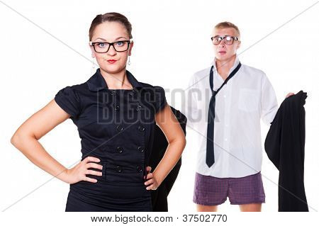 displeased woman waiting until the man get dressed. isolated on white background
