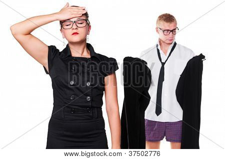 wife tired of waiting until her husband choosing trousers. isolated on white background