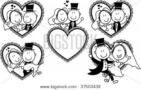 wedding invite cartoon portrait