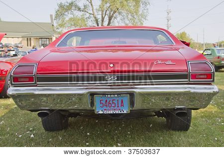 Red Chevy Chevelle Ss Rear View