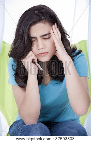 Teen Girl Or Young Woman Having Stressful Phone Conversation