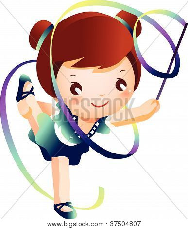 Girl practicing rhythmic gymnast performing with ribbon