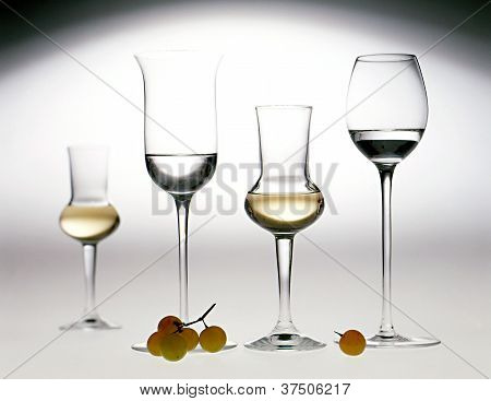 Elegant Glasses Of Grappa