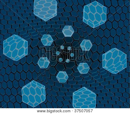 Flying Hexagons Over The Grid