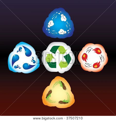 Four Elements As Recycle Signs