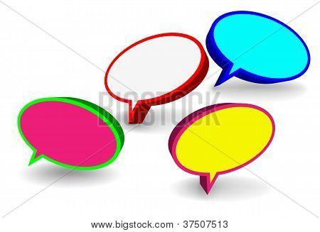 Set Of 3D Speech Bubbles