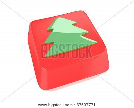 Christmas Tree Icon In Green On Red Computer Key