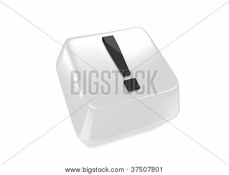 Exclamation Mark In Black On White Computer Key.