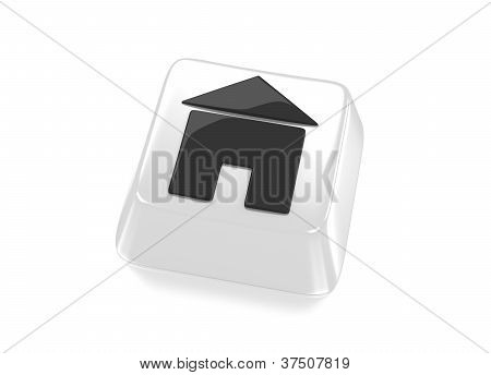 Home Icon In Black On White Computer Key. House Icon.