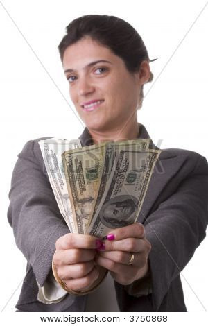 Businesswoman Showing Her Money