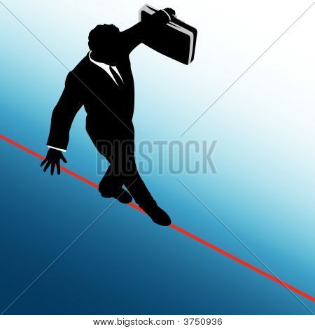 Business Man Risk On Tightrope Blue To White Background
