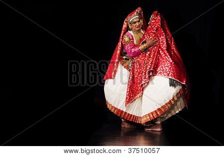 Chennai - SEPTEMBER 15: Kathakali performer in the virtuous pachcha (green) role in Chennai on September 15, 2012 in South India. Kathakali is the ancient classical dance form of Kerala.