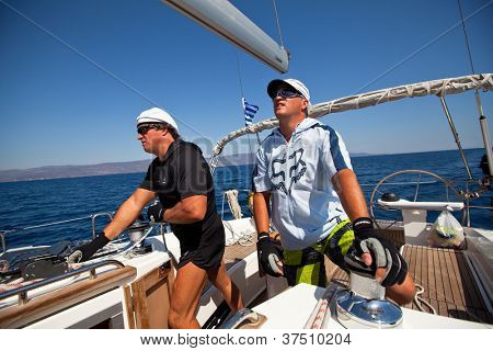 SARONIC GULF, GREECE - SEPTEMBER 24: Unidentified sailor participates in sailing regatta