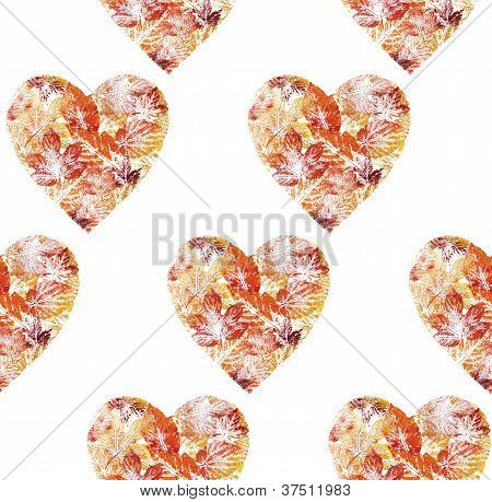 Seamless, hearts from leaves