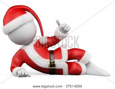 3D Christmas White People. Santa Claus Lying With Thumb Up