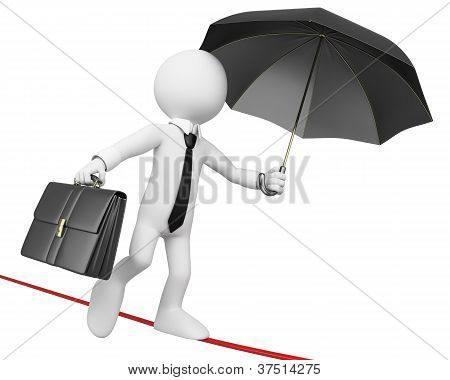 3D Businessman White People. Businessman Doing Balance Not To Fall