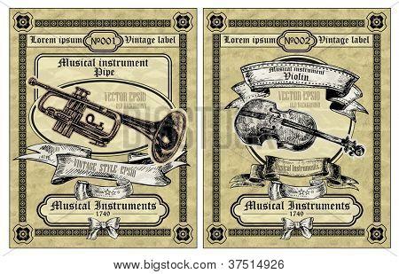 Vector set vintage labels - Musical Instruments