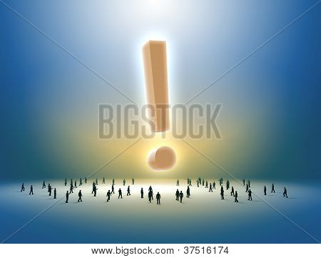 People walking towards an exclamation mark