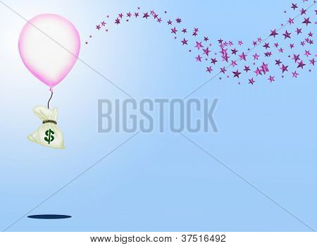 A Bag of Money and A Pink Balloon with Sparking Pink Star Background