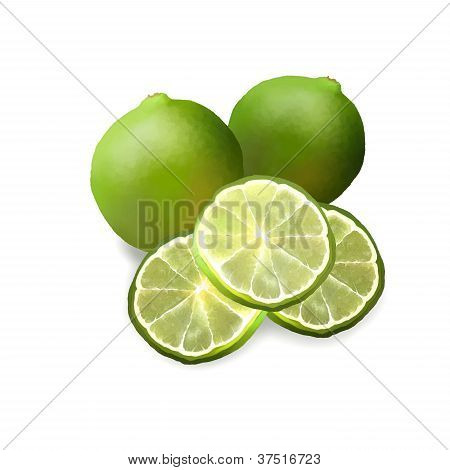 Two Fresh Ripe Limes and Limes Slice