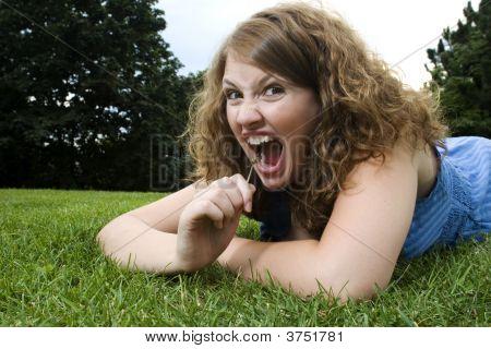 Girl In Park Making Funny Face