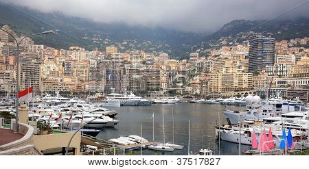 View Of Luxury Yachts In Harbor Of Monte Carlo In Monaco