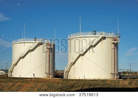 Oil storage tanks.