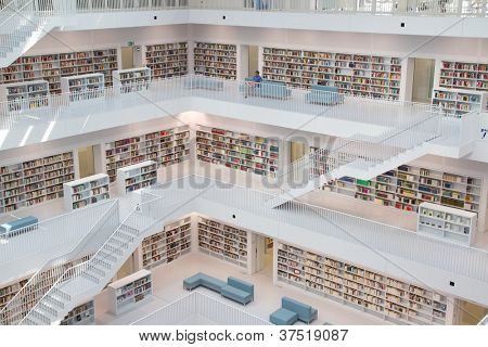 STUTTGART, GERMANY - AUG 18: The Stuttgart City Library on August 18, 2012 in Stuttgart, Germany.  The library, opened in October 2011, was designed by Yi Architects and has more than 500,000 books.