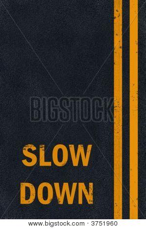 Asphalt Yellow Slow Down Marking