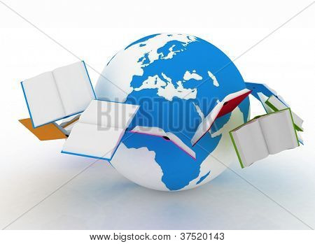 Open books are flying globe.