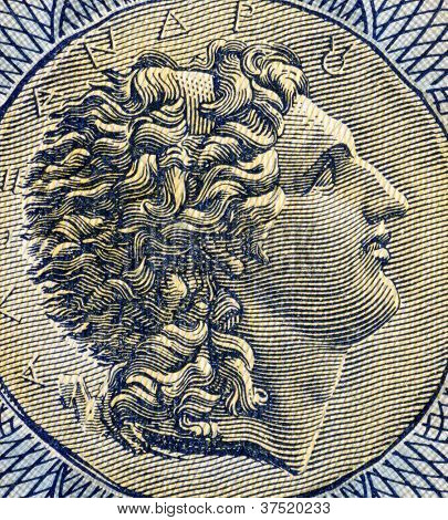 GREECE - CIRCA 1941: Alexander The Great (356-323BC) on 1000 Drachmai 1941 Banknote from Greece. Greek king and creator of one of the  largest empires of the ancient world while undefeated in battle.
