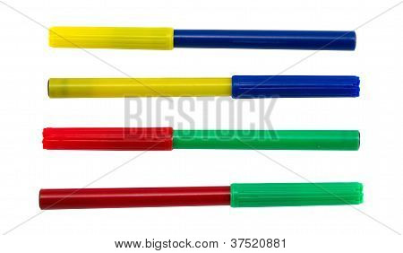 Felt Tip Pens With Different Color Plug. Red Green